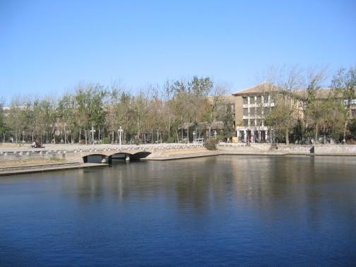 这片长方形的美丽湖水位於天大校园的正中央,正是昨晚夜色昏暗时隐约