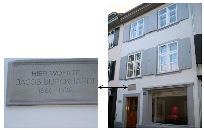 ▲布克哈特為《義大利文藝復興時代的文化》進行第二版修訂時住的公寓(最右邊二樓)。