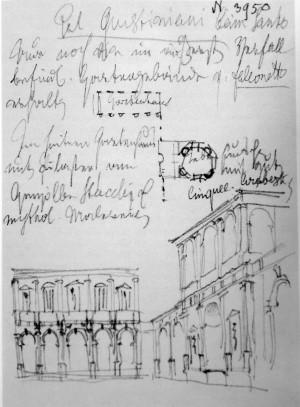 1853-4年布克哈特為書寫《義大利藝術鑑賞導覽》在義大利旅行時做的素描與札記。